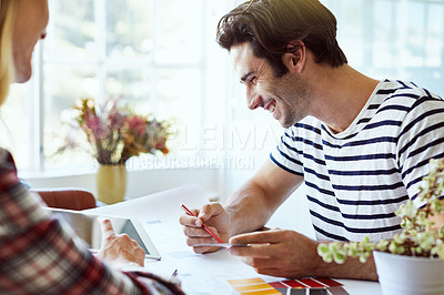 Buy stock photo Shot of an affectionate young couple at home