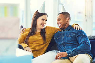 Buy stock photo Cropped shot of an affectionate young couple celebrating a birthday together