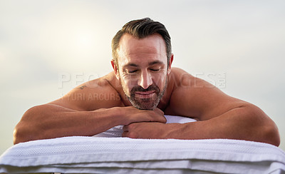 Buy stock photo Shot of a man enjoying his time at a spa