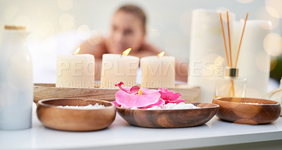 Buy stock photo Cropped shot of a mature couple at the day spa