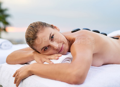 Buy stock photo Cropped shot of a woman enjoying her time at a spa