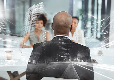 Buy stock photo Rearview shot of a businessman being interviewed in an office superimposed over a cityscape
