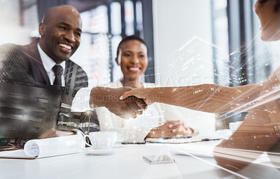 Buy stock photo Shot of businesspeople shaking hands during an interview in an office superimposed over a cityscape