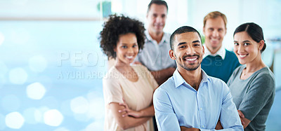 Buy stock photo Cropped portrait of a group of diverse colleagues standing in their office against a digitally enhanced background