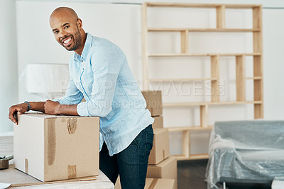 Buy stock photo Portrait of a young man moving house