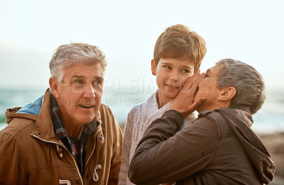 Buy stock photo Cropped shot of a senior woman whispering something into her grandson's ear at the beach