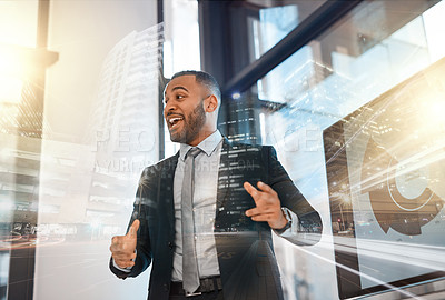 Buy stock photo Shot of a young businessman giving a presentation in an office superimposed over a cityscape