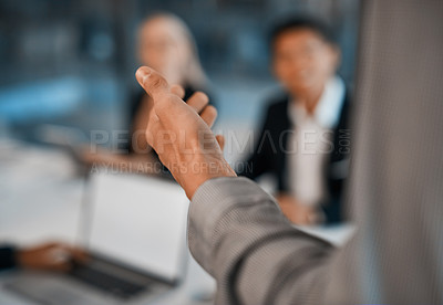 Buy stock photo Closeup shot of an unrecognizable businessman giving a presentation in an office