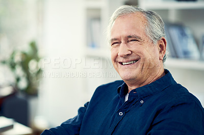 Buy stock photo Cropped shot of a senior businessman working from home