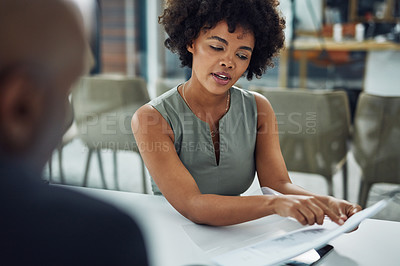 Buy stock photo Cropped shot of an attractive young businesswoman sitting in the boardroom during her job interview