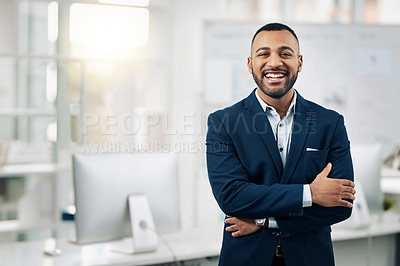 Buy stock photo Portrait of a confident and stylishly dressed businessman in an office