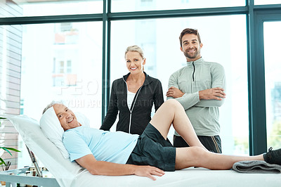 Buy stock photo Shot of a senior man going for physiotherapy