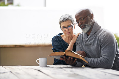 Buy stock photo Cropped shot of an affectionate senior couple reading their bible while sitting outside