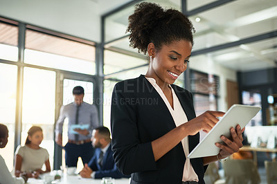 Buy stock photo Shot of businesspeople having a meeting in an office