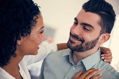 Buy stock photo Cropped shot of a young affectionate couple in the office