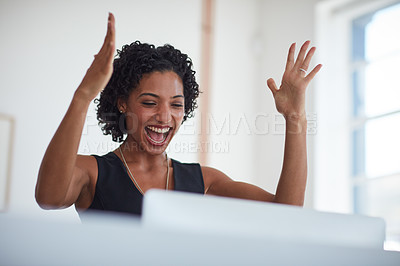 Buy stock photo Cropped shot of a young businesswoman working in the office
