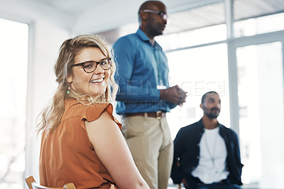 Buy stock photo Shot of a diverse group of creative employees having a meeting inside