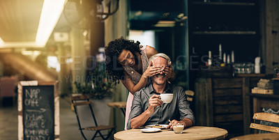 Buy stock photo Shot of a mature woman covering her husband's eyes on a coffee date