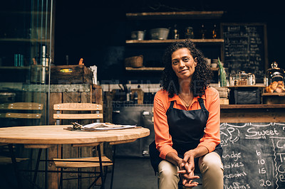 Buy stock photo Portrait of a confident mature woman working in a coffee shop