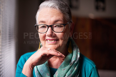 Buy stock photo Portrait of a confident senior woman at home