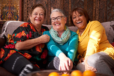 Buy stock photo Portrait of a group of happy senior women relaxing together on a sofa