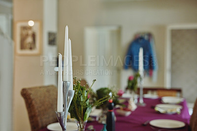 Buy stock photo Cropped shot of a dining room table set out for lunch