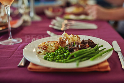 Buy stock photo High angle shot of a lunchtime table spread
