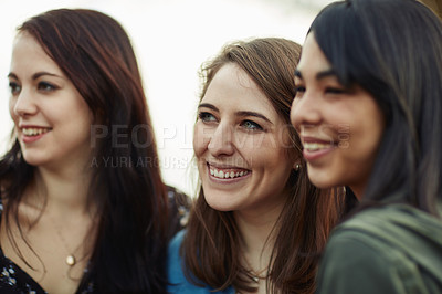 Buy stock photo Cropped shot of three girlfriends standing together