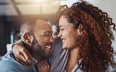 Buy stock photo Cropped shot of an affectionate young couple spending quality time together