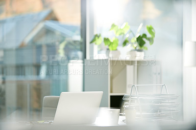 Buy stock photo Still life shot of a workstation in an office