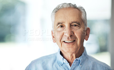 Buy stock photo Cropped portrait of a senior man standing in his home