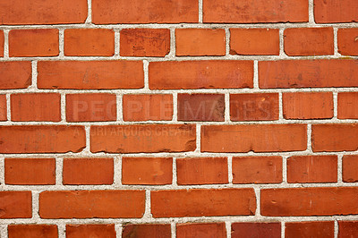 Buy stock photo A close-up photo of a wall of red bricks