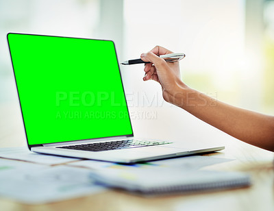Buy stock photo Closeup shot of an unrecognizable businesswoman using a laptop with a green screen in an office