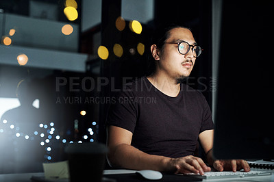 Buy stock photo Cropped shot of a computer programming working on new code