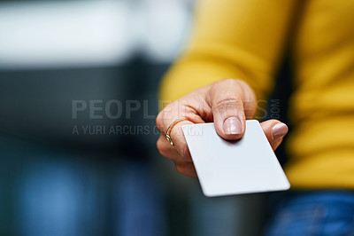 Buy stock photo Closeup shot of an unrecognizable woman holding a credit card