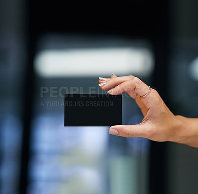 Buy stock photo Cropped shot of an unrecognizable woman holding a blank card