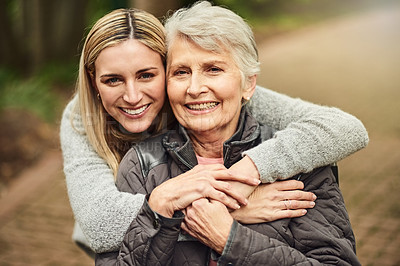 Buy stock photo Cropped portrait of a woman spending time with her elderly mother