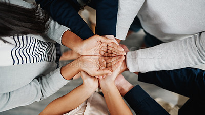 Buy stock photo Closeup shot of a group of people standing together with their hands open