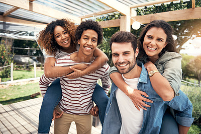 Buy stock photo Portrait of a group of friends having fun together outdoors