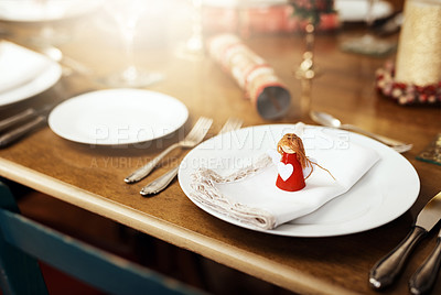 Buy stock photo Closeup shot of a place setting on a table at Christmas