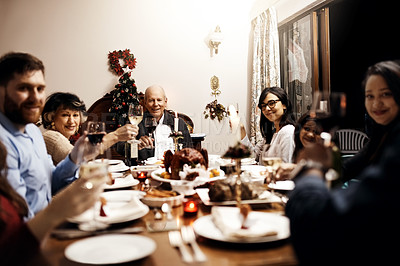 Buy stock photo Portrait of a happy family having Christmas lunch together at home