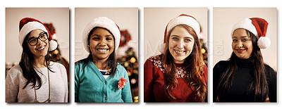 Buy stock photo Composite shot of a group of people wearing Christmas hats