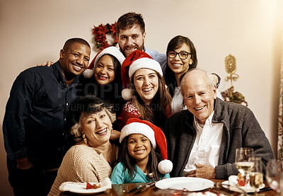 Buy stock photo Portrait of a multi generational family celebrating Christmas together at home