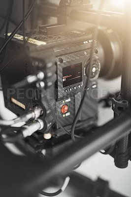 Buy stock photo Behind the scenes close up shot of videography recording equipment inside of a studio during the day