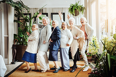 Buy stock photo Portrait of a group of happy senior women having fun together at a retirement home