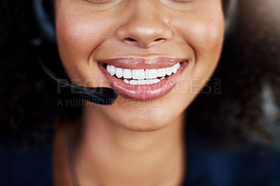 Buy stock photo Closeup shot of an attractive young female call center agent working in her office