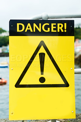 Buy stock photo Shot of a danger sign outside