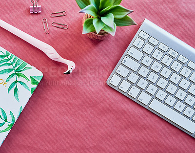 Buy stock photo Shot of various items on a work desk in a modern office