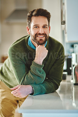 Buy stock photo Portrait of a handsome young man at home