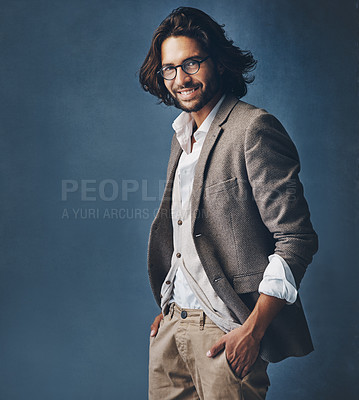 Buy stock photo Studio shot of a handsome and stylish man